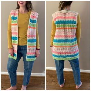Vintage cottage core granny square knit vest